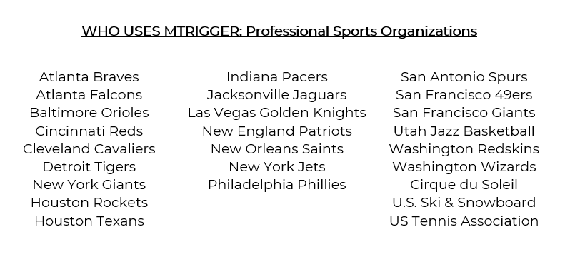 List of professional sports organizations that use mTrigger