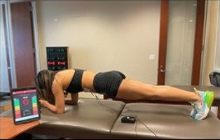 Prone plank with biofeedback on Rectus Abdominus muscles